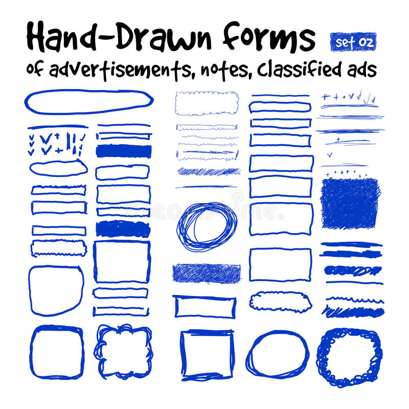 Forme disegnate a mano illustrazione vettoriale