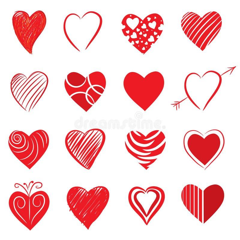 Forme disegnate a mano del cuore illustrazione di stock