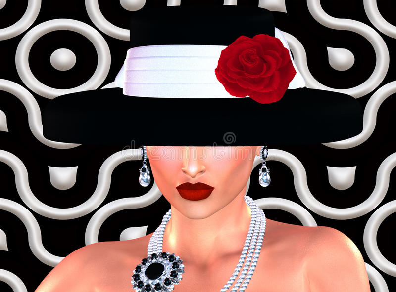 Forme el bosquejo, mujer atractiva en vestido del negro del estilo del vintage y el sombrero en nuestro 3d rinde estilo digital d libre illustration