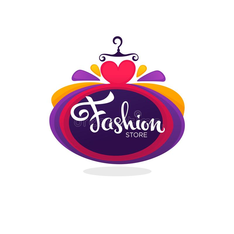 Forme el boutique y almacene el logotipo, etiqueta, emblema con ballo brillante ilustración del vector