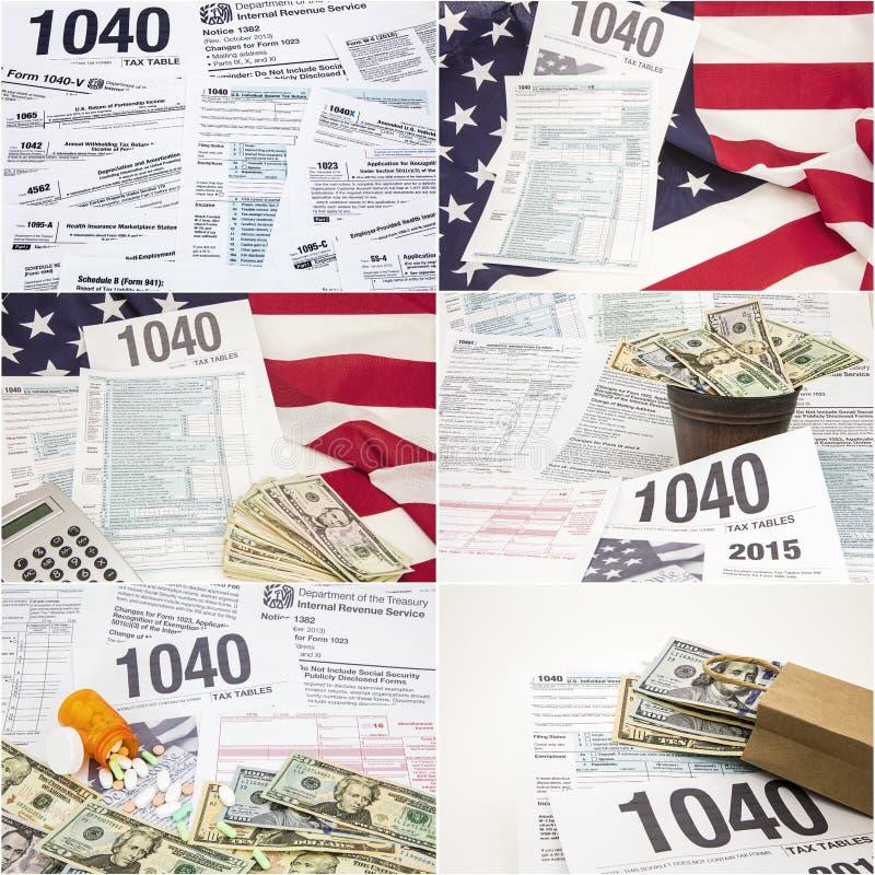 Forme el collage 1040 del dinero de drogas de la bandera americana del impuesto sobre la renta del IRS imagen de archivo