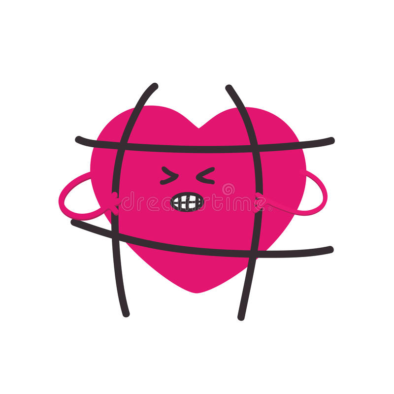 Forme el corazón del remiendo, ese las roturas las barras encarceladas Mensaje la libertad de amor Ejemplo del vector aislado en  stock de ilustración