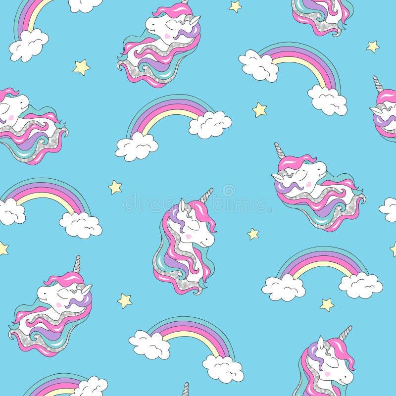 Forme el dibujo del ejemplo en el estilo moderno para la ropa Modelo con unicornio y el arco iris Modelo inconsútil de moda del v libre illustration