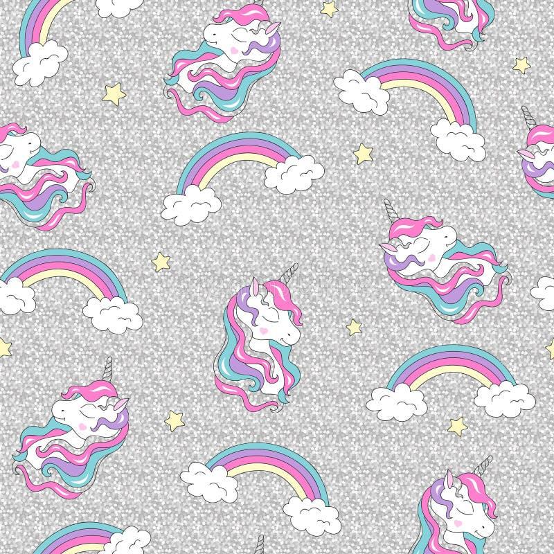 Forme el dibujo del ejemplo en el estilo moderno para la ropa Modelo con unicornio y el arco iris Modelo incons?til de moda del v stock de ilustración