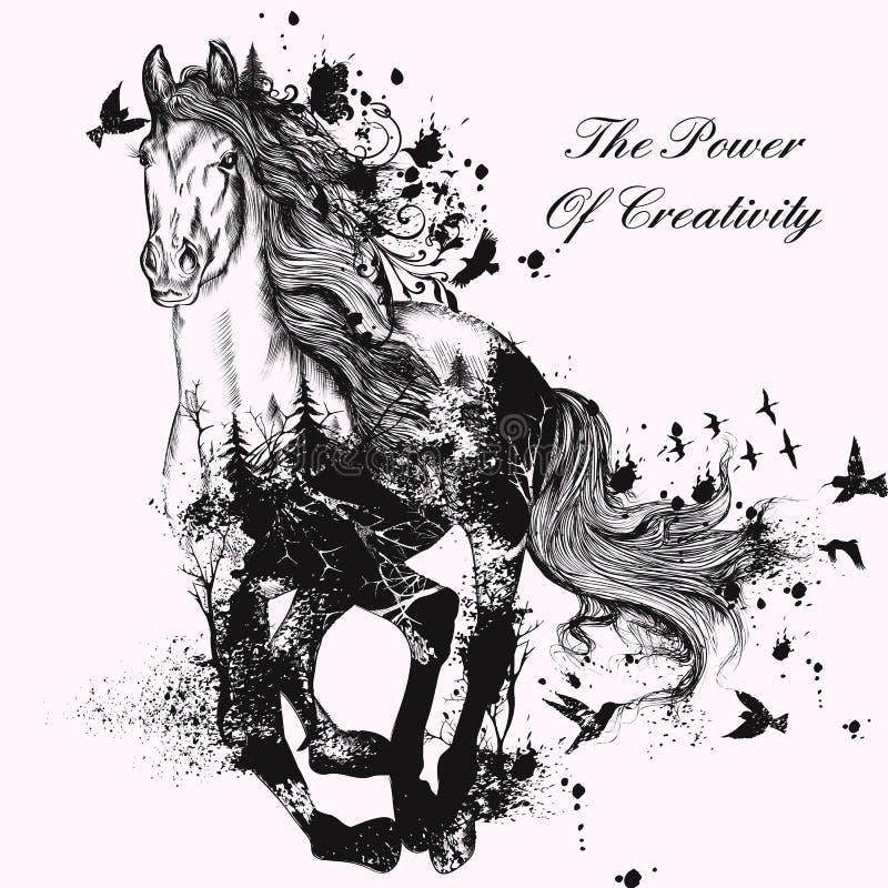 Forme el ejemplo con el caballo corriente detallado dibujado mano libre illustration
