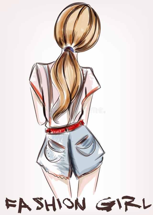 Forme el ejemplo con el pelo corto de la muchacha que retrocede stock de ilustración