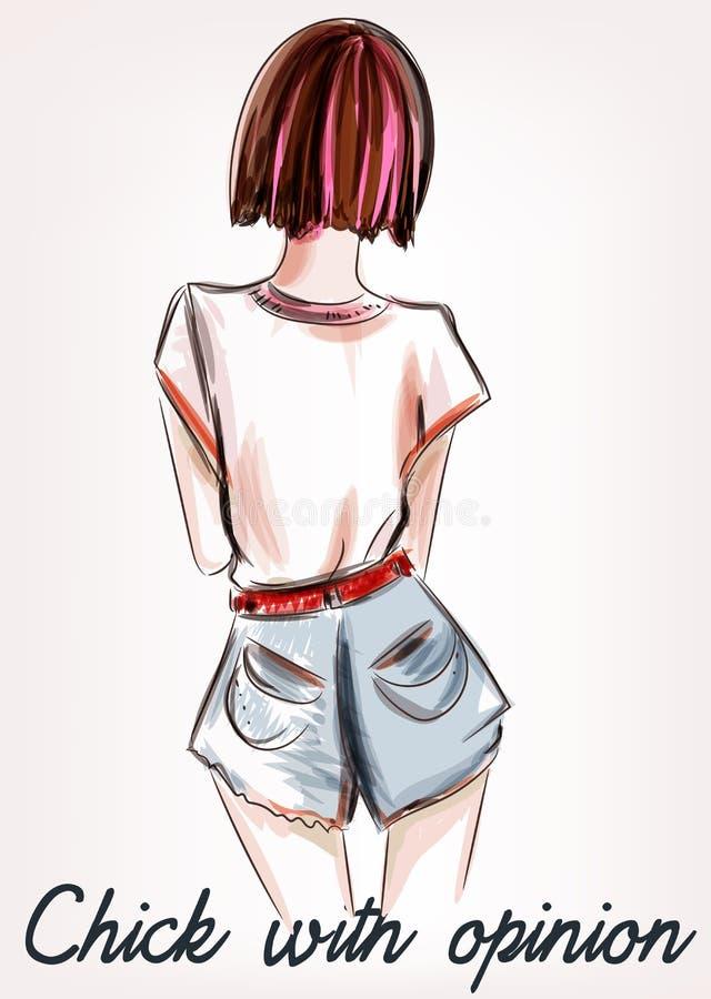 Forme el ejemplo con el pelo corto de la muchacha que retrocede libre illustration