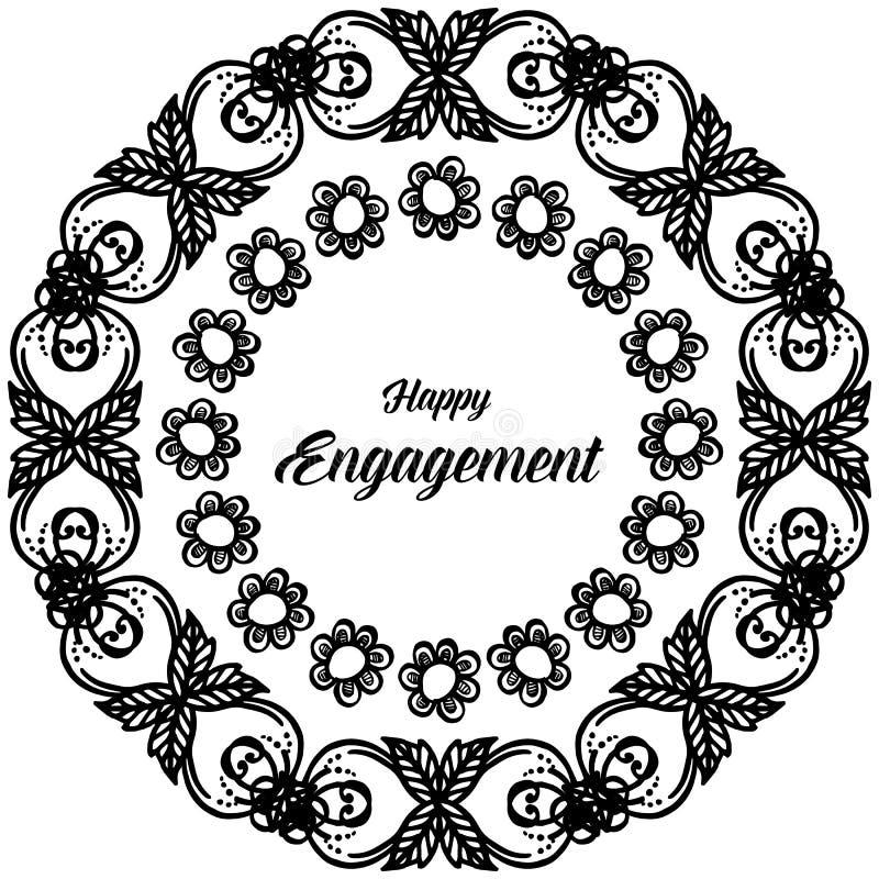 Forme el marco de la flor del círculo, compromiso feliz de la tarjeta del vintage del diseño Vector ilustración del vector