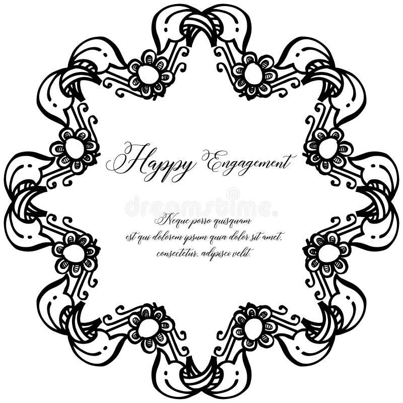 Forme el marco de la flor del círculo, compromiso feliz de la tarjeta del vintage del diseño Vector stock de ilustración
