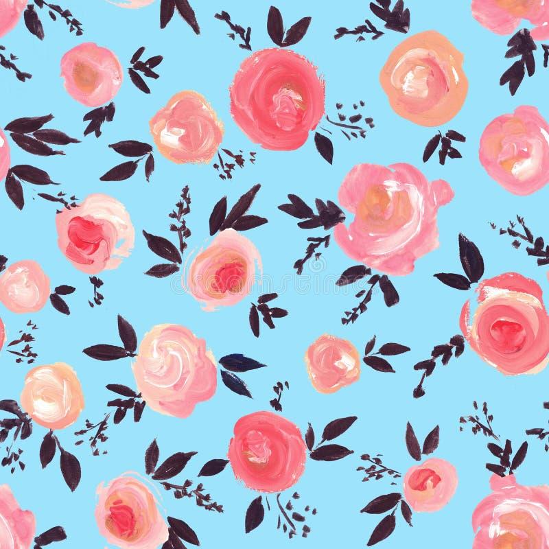 Forme el modelo inconsútil con las flores hermosas del aguazo en el fondo azul ilustración del vector