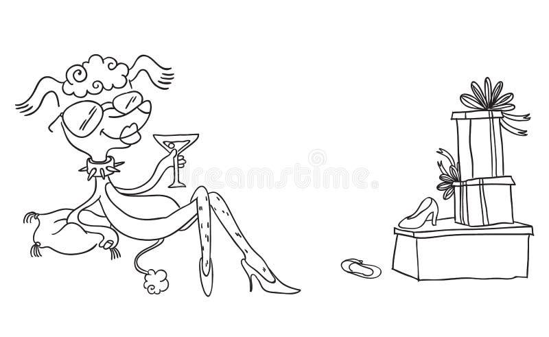 Forme el perro del charco con las gafas de sol que bebe cerca de las cajas con los nuevos zapatos Ejemplo divertido del animal de libre illustration