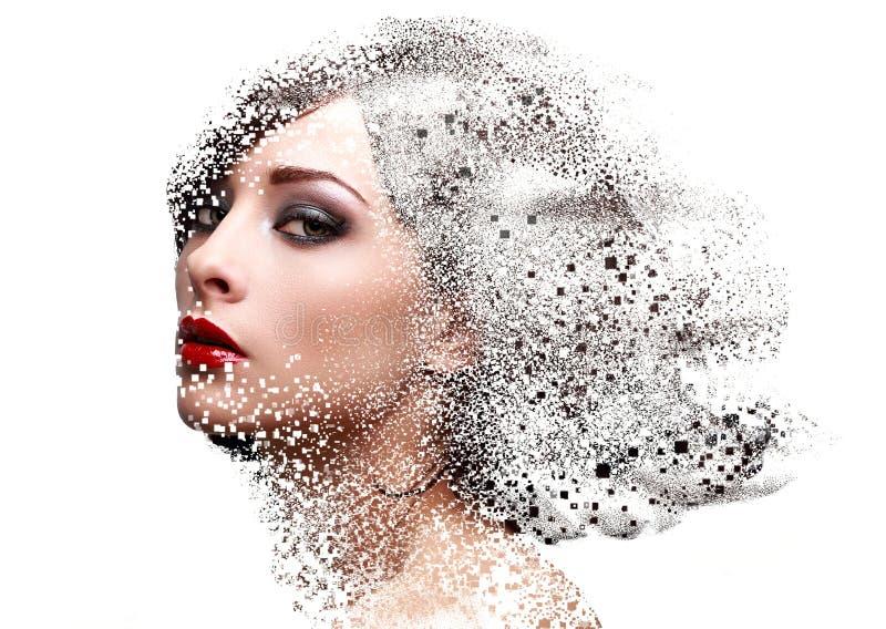Forme el retrato de la cara de la mujer del maquillaje con la dispersión pixeled ef imagenes de archivo