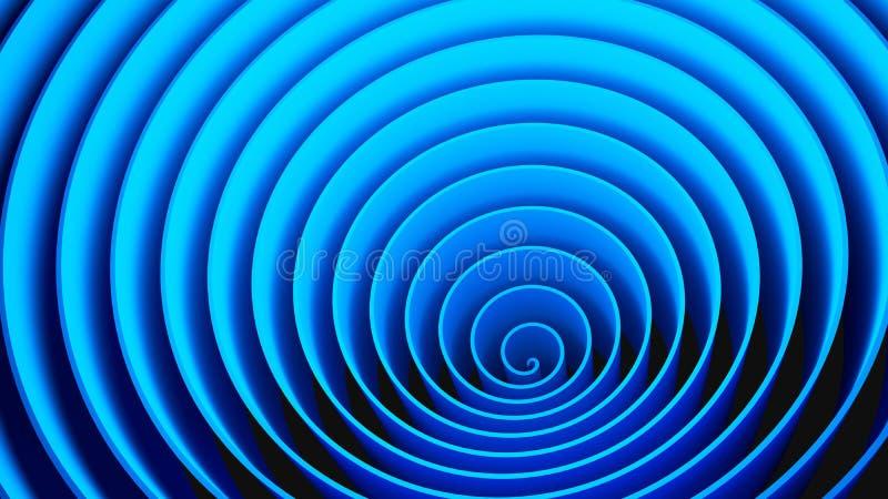 Forme en spirale de cercles bleus, illusion optique Configuration abstraite photo stock
