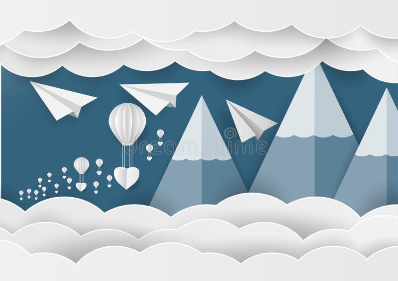 Forme et ballon de coeur de livre blanc dans le ciel avec la montagne et le nuage Idée de papier d'art illustration de vecteur