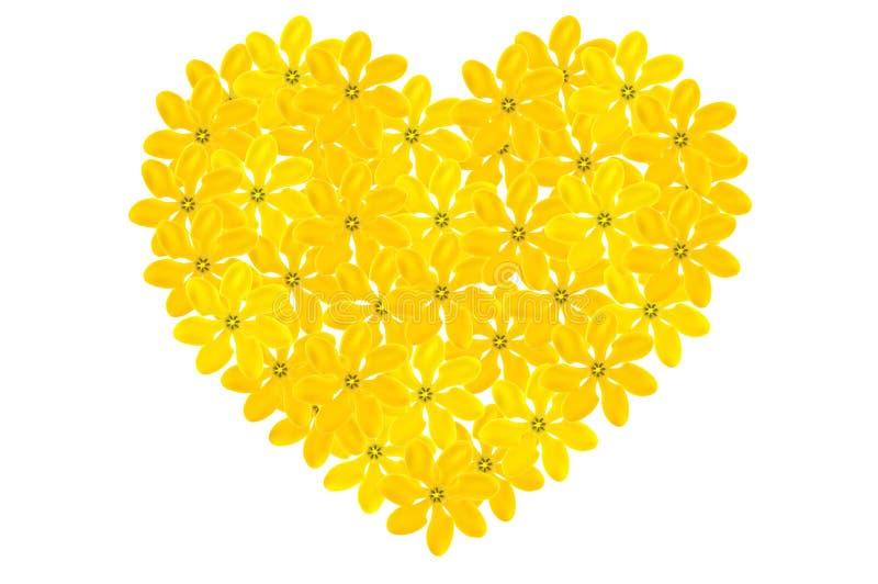 Forme florale de coeur de gardénia d'or image libre de droits
