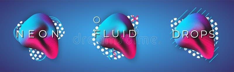 Forme fluide d'avanguardia liquide Insieme di elementi di vettore illustrazione di stock