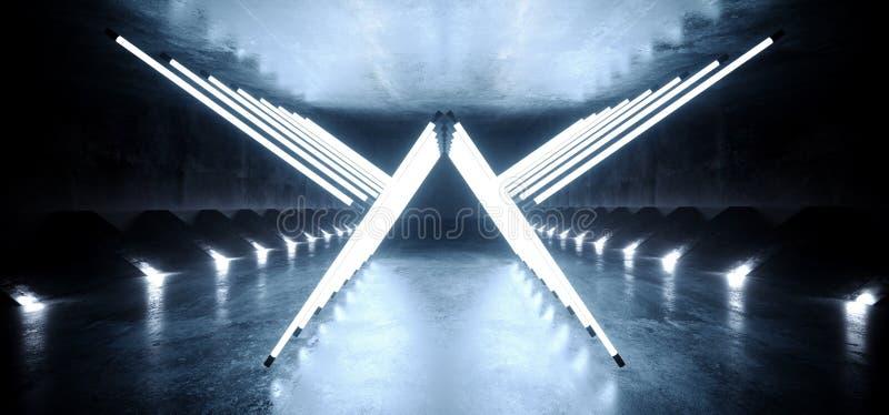Forme fluorescente menée blanche bleue rougeoyante au néon de triangle d'ailes de flèche de lumières de laser de pièce réfléchie  illustration de vecteur