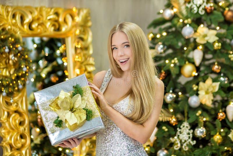 Forme a foto interior da senhora lindo bonita da mulher com cabelo louro no vestido luxuoso que levanta na sala com árvore de Nat foto de stock royalty free