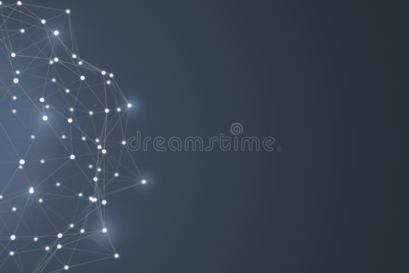 Forme futuriste de connexion technologique, réseau blanc de point, rendu 3D illustration libre de droits