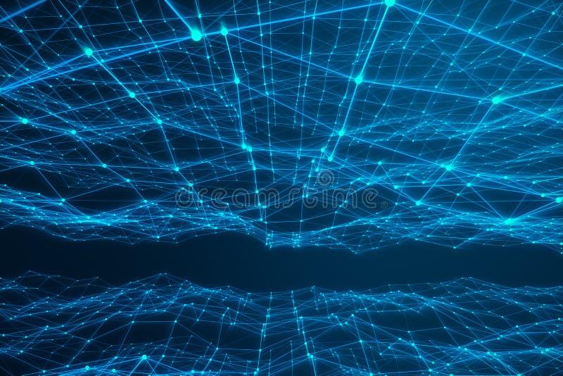 Forme futuriste de connexion technologique, réseau bleu de point, fond abstrait, fond bleu, concept de réseau illustration de vecteur