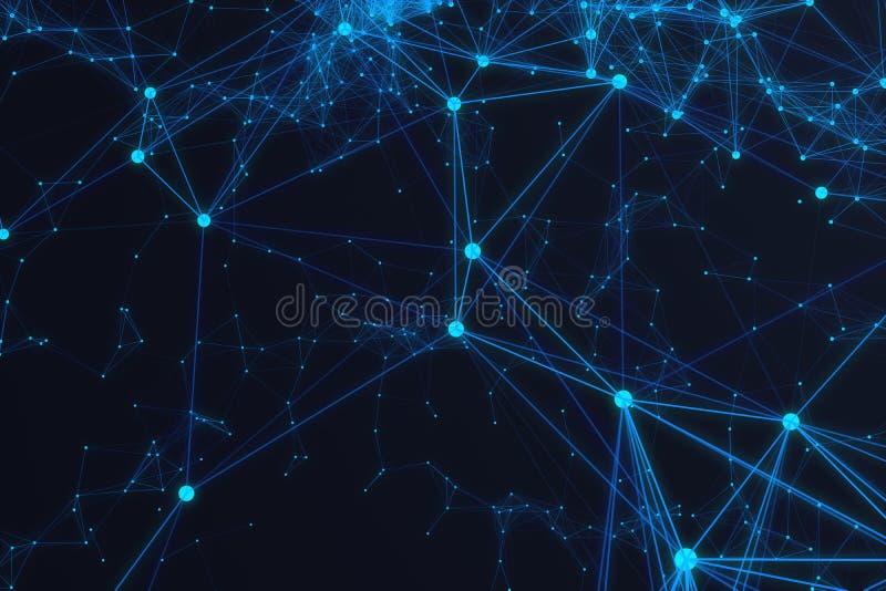 Forme futuriste de connexion technologique, réseau bleu de point, fond abstrait, rendu bleu du fond 3D illustration libre de droits