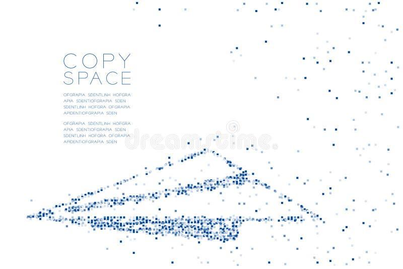 Forme géométrique abstraite d'avion de papier de modèle de boîte carrée, illustration de couleur bleue de conception de l'avant-p illustration libre de droits