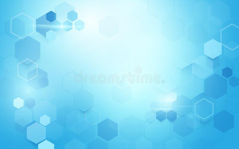 Forme géométrique abstraite d'hexagones La Science et concept de médecine sur le fond bleu mou illustration de vecteur