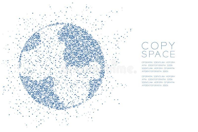 Forme géométrique abstraite de globe de modèle de boîte carrée, illustration de couleur bleue de conception de l'avant-projet de  illustration stock