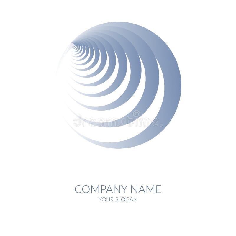 Forme géométrique abstraite de label de bannière de logo en spirale bleu rond illustration libre de droits