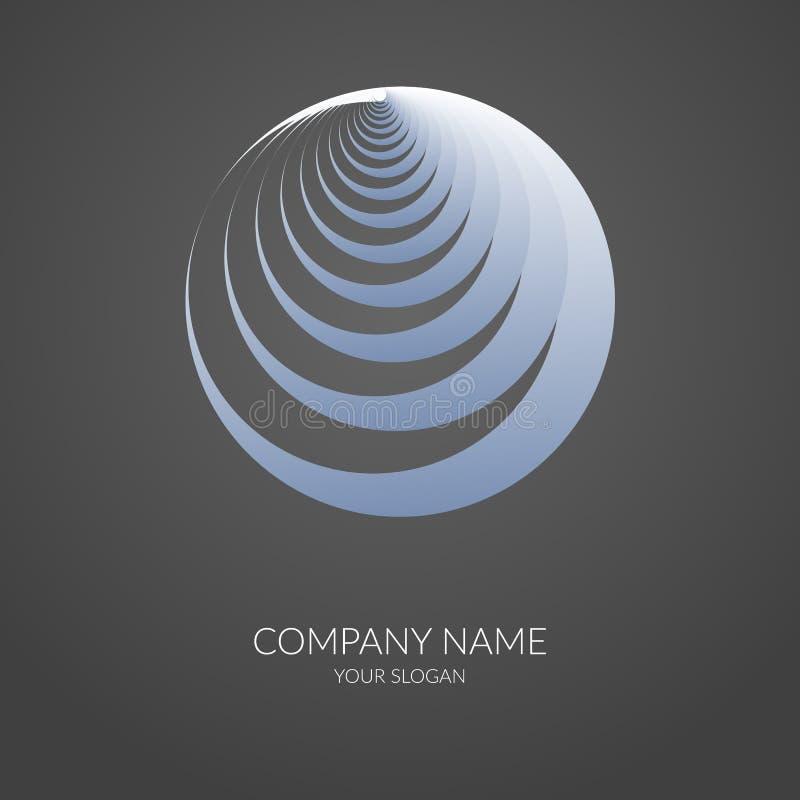 Forme géométrique abstraite de label de bannière de logo en spirale rond illustration stock