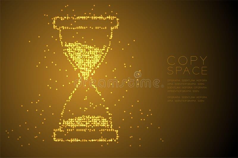 Forme géométrique abstraite de sablier de modèle de pixel de point de cercle de Bokeh, illustration de couleur numérique d'or de  illustration libre de droits