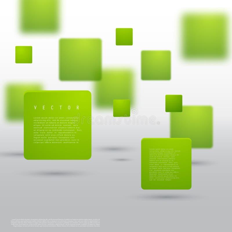 Forme géométrique abstraite de vecteur des cubes verts illustration libre de droits