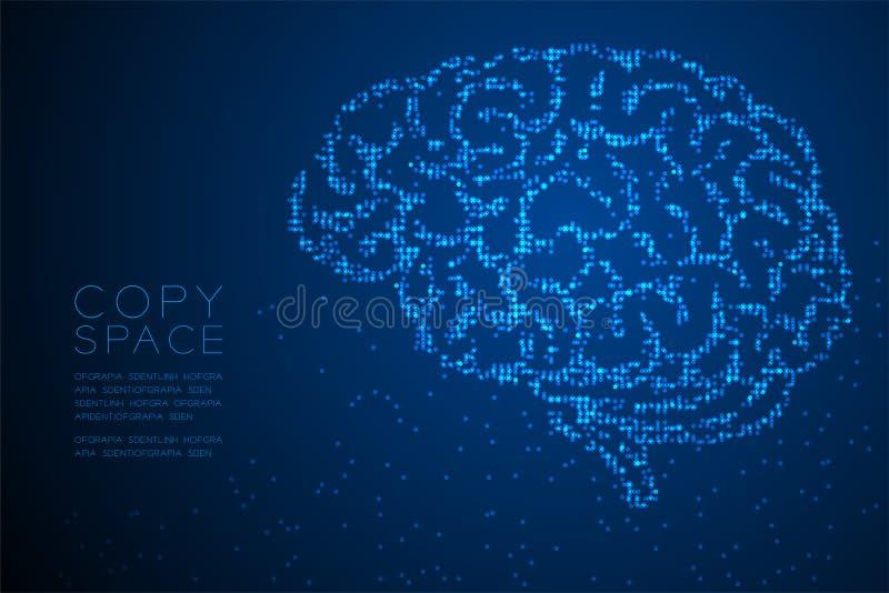 Forme géométrique abstraite de vue de côté de cerveau de modèle de pixel de point de cercle, illustration de couleur bleue créati illustration libre de droits