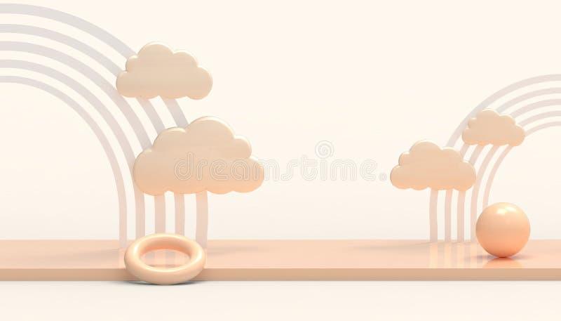 Forme g?om?trique et nuages de cercle d'arc-en-ciel minimaux sur le mur orange en pastel d'Art moderne illustration stock