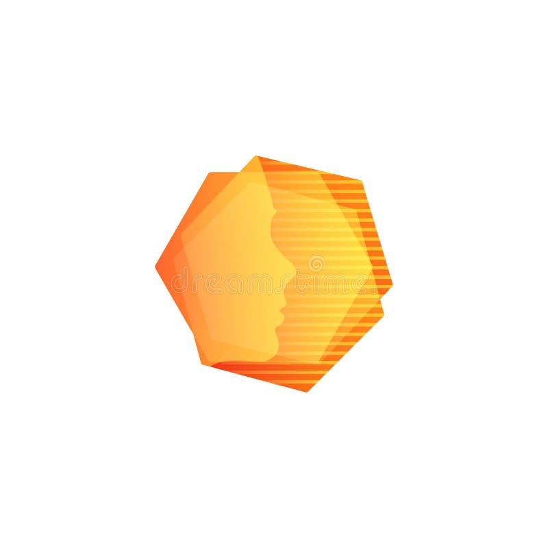 Forme géométrique orange d'Abstarct, visage humain dans les hexagones avec le fond de rayures, logo peu commun de vecteur illustration de vecteur
