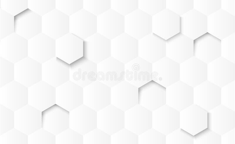 Forme geometriche di pendenza grigia astratta su fondo bianco con ombra illustrazione vettoriale