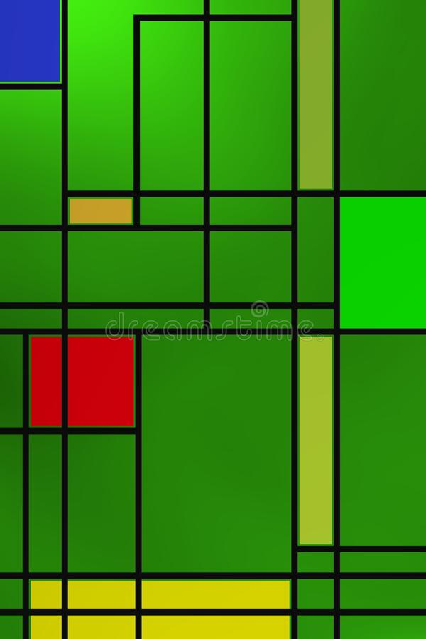 Forme geometriche sopra la lampadina verde fotografie stock