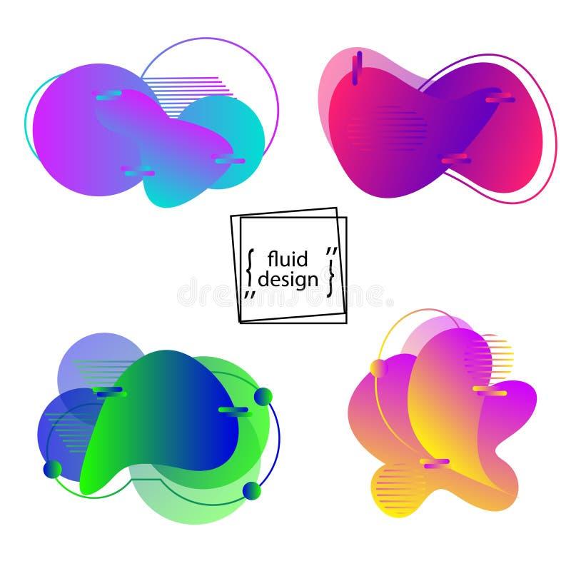 Forme geometriche stabilite di colore liquido Elementi fluidi d'avanguardia di pendenza per il logos, le insegne ed altri progett illustrazione vettoriale