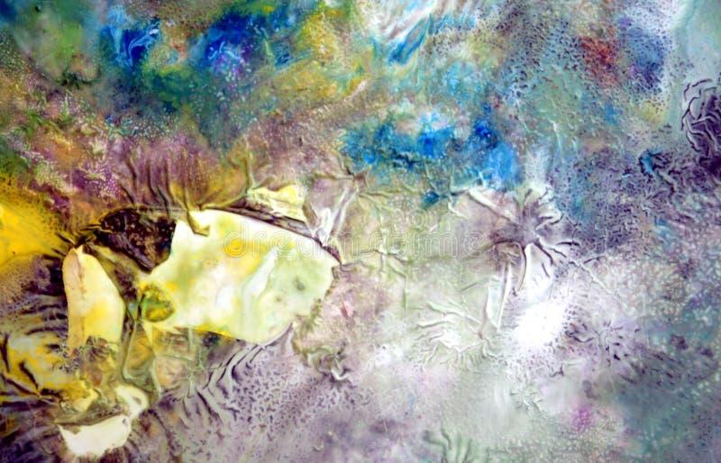 Forme ghiacciate di verniciatura nei colori morbidi grigi gialli di rosa porpora blu, fondo astratto illustrazione di stock