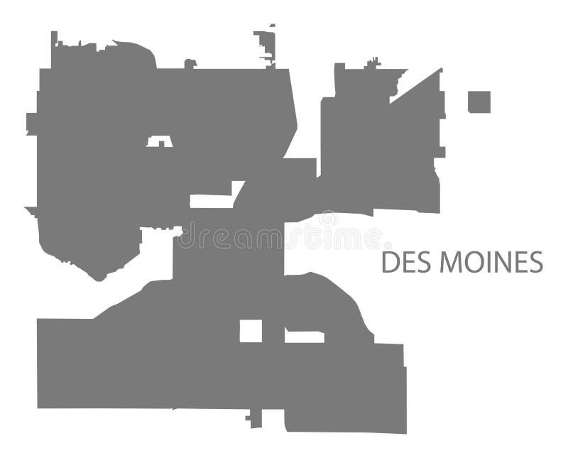 Forme grise de silhouette d'illustration de carte de Des Moines Iowa City illustration de vecteur