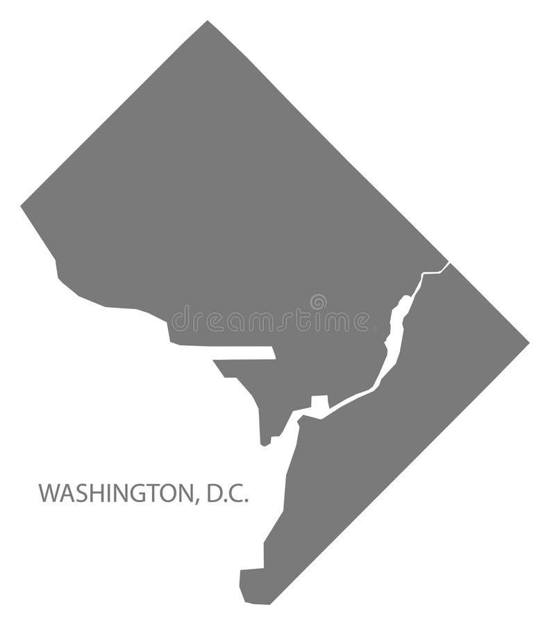 Forme grise de silhouette d'illustration de carte de ville de Washington DC illustration stock