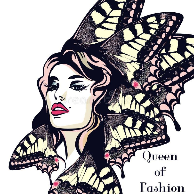 Forme a ilustração do vetor, retrato da mulher nova da borboleta ilustração royalty free