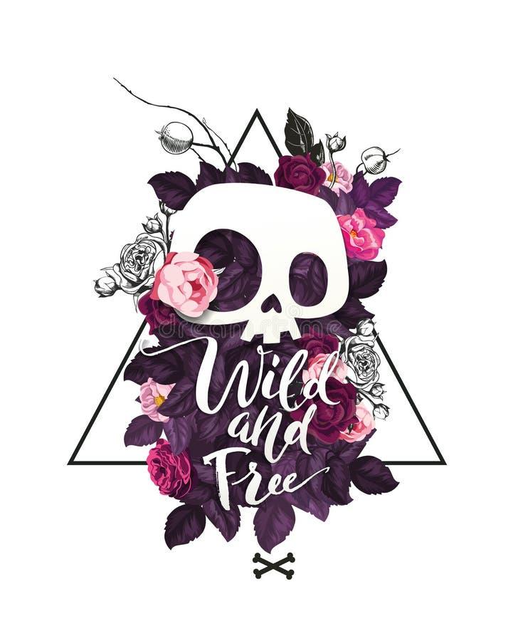 Forme a ilustração que descreve o crânio bonito dos desenhos animados e rosas de florescência no fundo ilustração stock