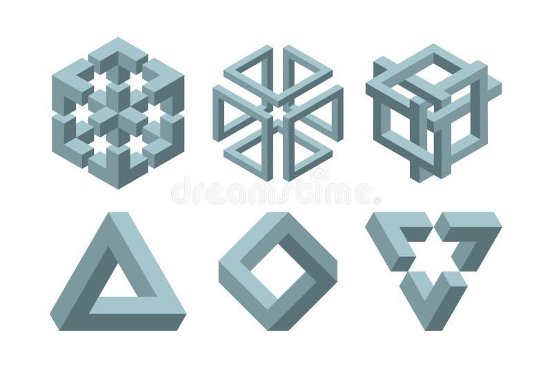 Forme impossibili grafiche Simboli del cerchio, del quadrato e del triangolo con il grafico geometrico della geometria impossibil illustrazione di stock