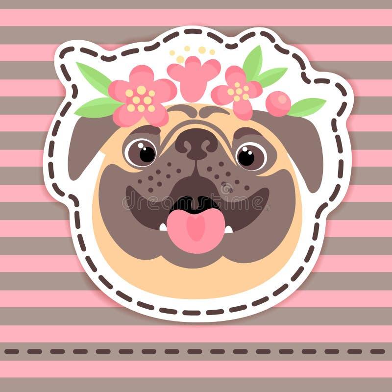 Forme a insignias del remiendo el barro amasado feliz en corona de la flor en fondo rayado libre illustration
