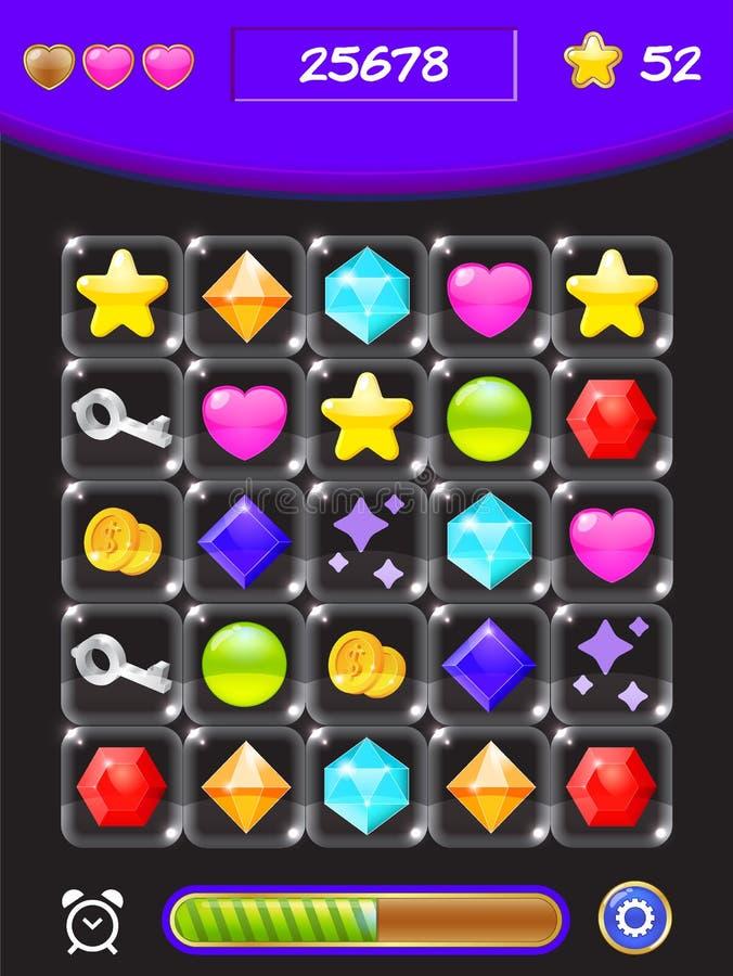 Forme a interface de utilizador do jogo do projeto para jogos de vídeo ilustração royalty free