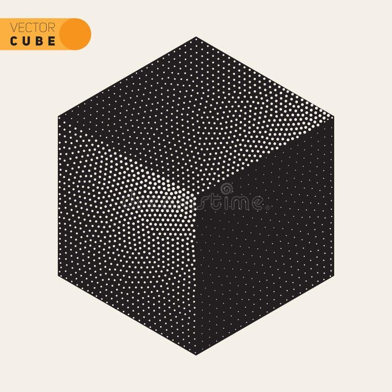 Forme isométrique pointillée noire et blanche de cube en vecteur pointillant l'ombrage tramé illustration de vecteur