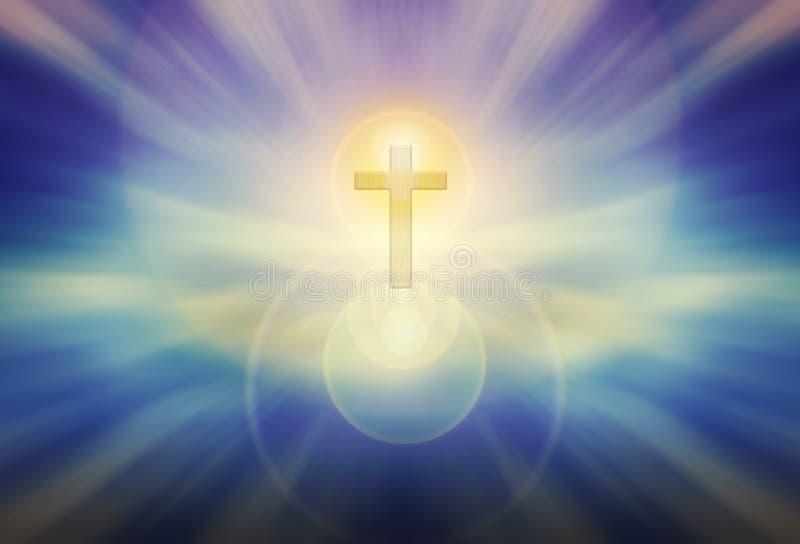 Forme légère de crucifix de cuvette de Dieu sur le fond bleu brillant de lueur, photo stock