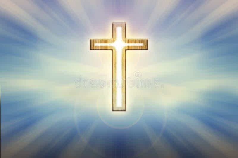 Forme légère de crucifix de cuvette de Dieu sur le fond bleu brillant de lueur, images libres de droits
