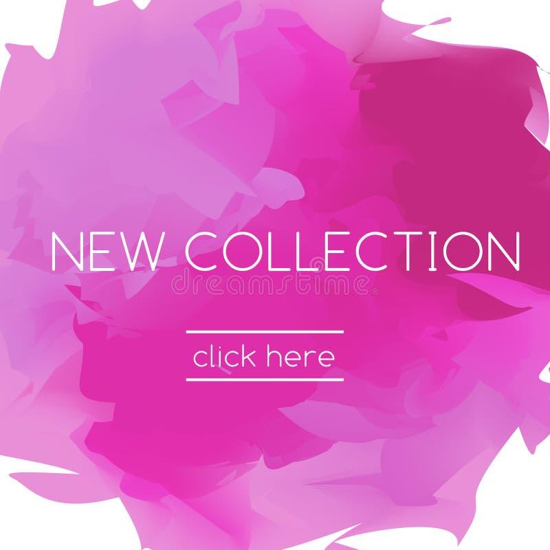Forme la bandera rosada en estilo artístico y colección del lema la nueva ilustración del vector